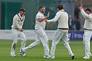 Wicket - Michael Clayton of Kent celebrates taking the wicket of Lewis Gregory of Somerset during the Specsavers County Champ Div 1 match between Somerset County Cricket Club and Kent County Cricket Club at the Cooper Associates County Ground, Taunton, United Kingdom on 7 April 2019.