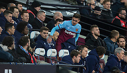 LONDON, ENGLAND - Wednesday, January 29, 2020: West Ham United's Manuel Lanzini is substituted during the FA Premier League match between West Ham United FC and Liverpool FC at the London Stadium. (Pic by David Rawcliffe/Propaganda)