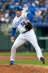 March 29, 2018 - Kansas City, MO, U.S. - KANSAS Kansas City, MO - MARCH 29: Kansas City Royals relief pitcher Brad Keller (56) pitching during the major league opening day game against the Chicago White Sox on March 29, 2018 at Kauffman Stadium in Kansas City, Missouri. (Photo by William Purnell/Icon Sportswire) (Credit Image: © William Purnell/Icon SMI via ZUMA Press)