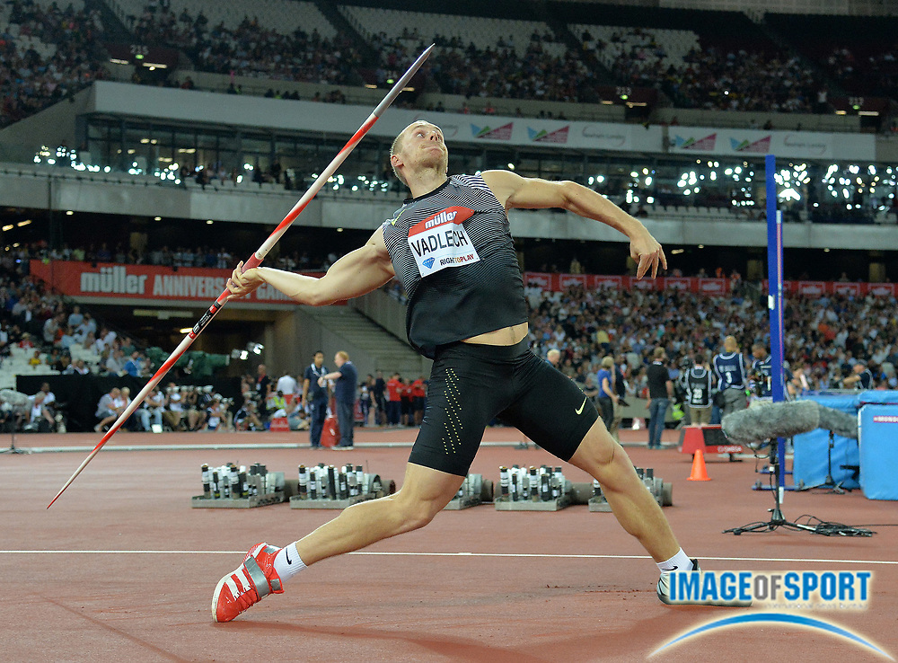 Jul 22, 2016; London, United Kingdom; Jackub Vadlejch (CZE) wins the javelin at 281-2 (85.72m) in the London Anniversary Games during an IAAF Diamond League meet at Olympic Stadium.