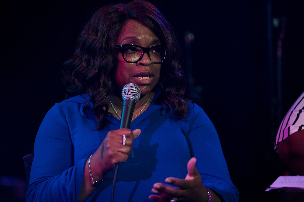 """Ald. Sheri Carter speaks during the live taping of the """"Madsplainers"""" Podcast at High Noon Saloon in Madison, WI on Tuesday, April 9, 2019."""