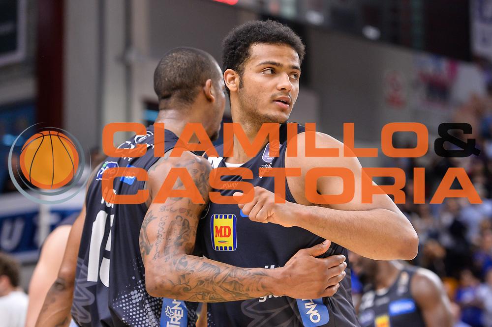 Joao Gomes, Shavon Shields<br /> Banco di Sardegna Dinamo Sassari - Dolomiti Energia Aquila Basket Trento<br /> Legabasket Serie A LBA Poste Mobile 2016/2017<br /> Playoff Quarti Gara3<br /> Sassari 16/05/2017<br /> Foto Ciamillo-Castoria