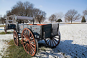 Fort Kearney, Nebraska NE USA, Pioneer wagons at Fort Kearney, NE. This is a fort on the Oregon trail, on which pioneers headed west during the 19th century.