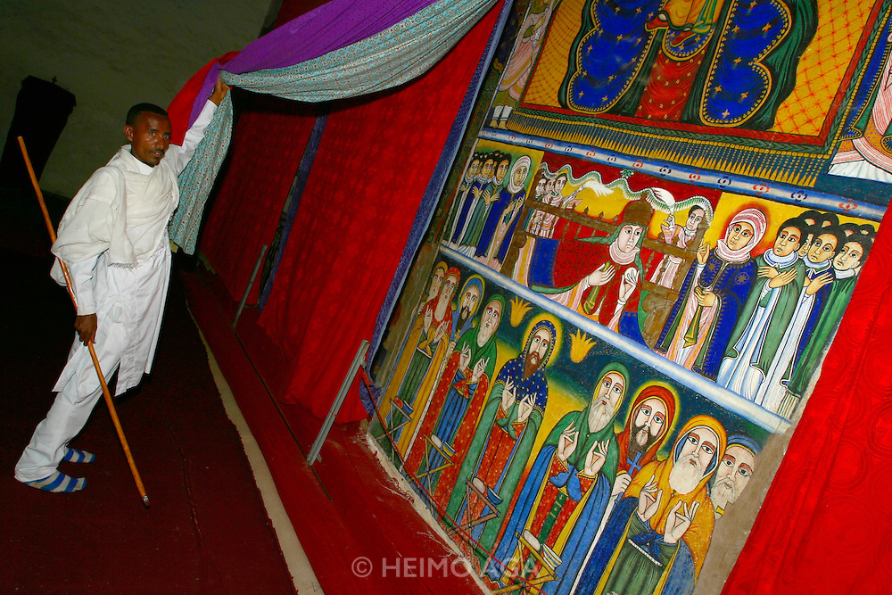 AXUM, TIGRAY/ETHIOPIA..Wall paintings at the first Church of St. Mary of Zion..(Photo by Heimo Aga)