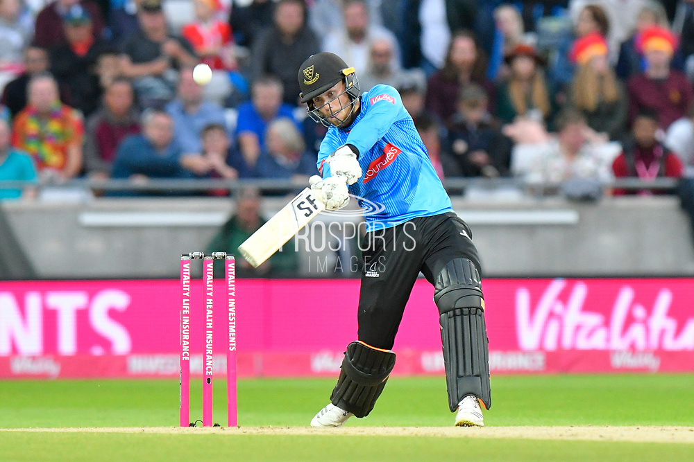 Phil Salt of Sussex hits the ball over the boundary for six runs during the final of the Vitality T20 Finals Day 2018 match between Worcestershire Rapids and Sussex Sharks at Edgbaston, Birmingham, United Kingdom on 15 September 2018.