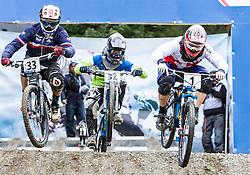 01.09.2012, Bikepark, Leogang, AUT, UCI, Mountainbike und Trial Weltmeisterschaften, MEN Elite, 4-Cross, im Bild Matthieu Faury (FRA), Urban Rotnik (SLO), David Graf (SUI) // during UCI Mountainbike and Trial World Championships, MEN Elite, 4-Cross at the Bikepark, Leogang, Austria on .2012/09/01. EXPA Pictures © 2012, PhotoCredit: EXPA/ Juergen Feichter