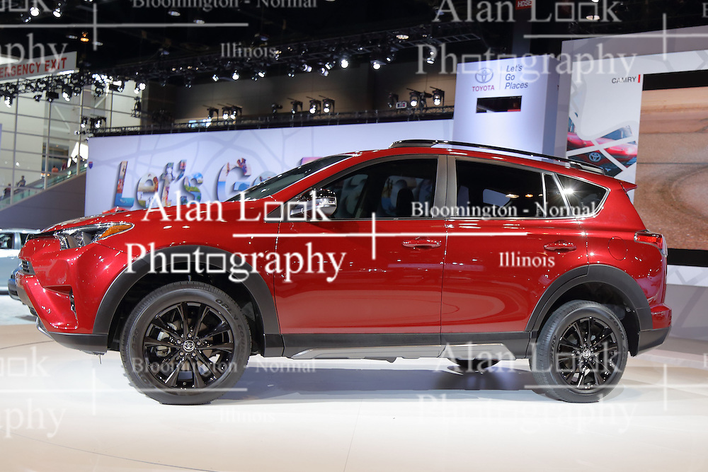 09 February 2017:  Toyota RAV4<br /> <br /> First staged in 1901, the Chicago Auto Show is the largest auto show in North America and has been held more times than any other auto exposition on the continent.  It has been  presented by the Chicago Automobile Trade Association (CATA) since 1935.  It is held at McCormick Place, Chicago Illinois<br /> #CAS17
