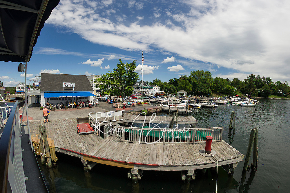 The Winnipesaukee Belle pulls up to the town docks in Wolfeboro, NH.  ©2106 Karen Bobotas Photographer