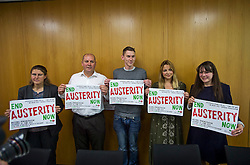 © Licensed to London News Pictures. 04/06/2015. L to R STEVE TURNER (Unite assistant general secretary), RACHAEL MASKELL (labour MP for York Central), SAM FAIRBAIRN (national secretary of the peoples assembly), CHARLOTTE CHURCH (singer) and AMELIA WOMACK (deputy leader of the green party).  Singer and activist CHARLOTTE CHURCH takes part in a panel press conference at the Unite Union building in London, ahead of an anti-austerity demonstration on June 20th. London, UK. Photo credit: Ben Cawthra/LNP