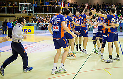 Players of ACH celebrate after the volleyball game between OK Panvita Pomgrad and ACH Volley in Final of 1st DOL Slovenian National Championship 2014, on April 15, 2014 in Murska Sobota, Slovenia. ACH won 3-1 and became Slovenian Volleyball Champion 2014. Photo by Vid Ponikvar / Sportida