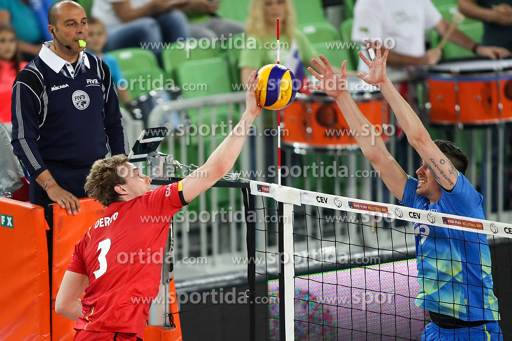 Sam Deroo of Belgium vs Dejan Vincic of Slovenia during volleyball match between National teams of Slovenia and Belgium in 2nd Round of 2018 FIVB Volleyball Men's World Championship qualification, on May 28, 2017 in Arena Stozice, Ljubljana, Slovenia. Photo by Morgan Kristan / Sportida