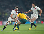 Twickenham, Great Britain,    Tom WOODS  and Brad BARRITT facing Matt GITEAU, during the Pool A game, England vs Australia.  2015 Rugby World Cup, Venue, RFU Stadium, Twickenham, Surrey, ENGLAND.  Saturday  03/10/2015<br /> Mandatory Credit; Peter Spurrier/Intersport-images]