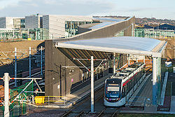 View of modern Edinburgh Gateway railway and tram station that connects Scotrail train passengers with the Edinburgh Tram link  in Edinburgh, Scotland, United Kingdom.