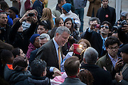 Bill de Blasio makes his way to the exit after a rally at City Hall with group Latinos for De Blasio in New York, NY on Sunday, Nov. 3, 2013.<br /> <br /> CREDIT: Andrew Hinderaker for The Wall Street Journal<br /> SLUG: NYMAYOR