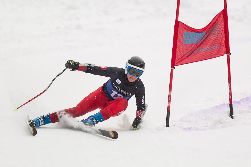 Rebecca Nadler of Harvard University, skis during the second run of the women's giant slalom at Jiminy Peak on February 15, 2014 in Hancock, MA. (Dustin Satloff/EISA)