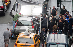 "Brad Pitt's Volvo car as the camera is set up, on the set of the movie ""World War Z"" being shot in the city centre of Glasgow. The film, which is set in Philadelphia, is being shot in various parts of the Glasgow, transforming it to shoot the post apocalyptic zombie film..© pic : Michael Schofield."