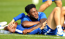 Ellis Harrison of Bristol Rovers lies on Matt Taylor - Mandatory by-line: Robbie Stephenson/JMP - 15/09/2016 - FOOTBALL - The Lawns Training Ground - Bristol, England - Bristol Rovers Training