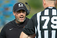 KELOWNA, BC - OCTOBER 6:  Okanagan Sun Head Coach Jamie Boreham speaks to a referee on the sidelines in the second quarter against Vancouver Island Raiders during BCFC regular season at the Apple Bowl on October 6, 2019 in Kelowna, Canada. (Photo by Marissa Baecker/Shoot the Breeze)