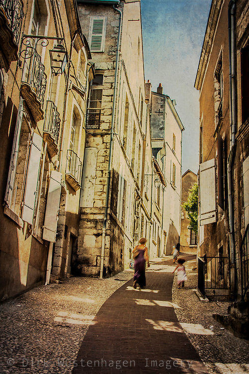Steep lane in the old town of Blois, france.