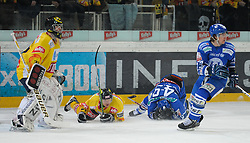 15.02.2011, Albert Schultz Halle, Wien, AUT, EBEL, EC Vienna Capitals vs KHL Medvescak Zagreb, im Bild Adam Hauser, (EC Vienna Capitals, Tor, #31), Jeremy Rebek, (EC Vienna Capitals, Verteidigung, #27) und Greg Day, (KHL Medvescak Zagreb, #49) am Eis, Jonathan Filewich, (KHL Medvescak Zagreb, #13), EXPA Pictures © 2011, PhotoCredit: EXPA/ G. Holoubek