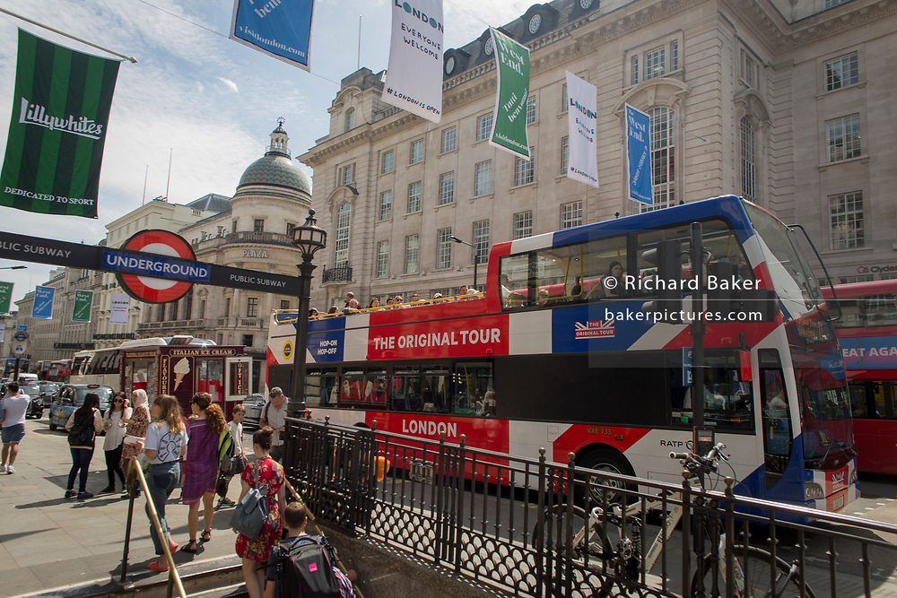A tour bus with The Original Tour drives through Piccadilly Circus Square, on 7th July 2017, in central London.