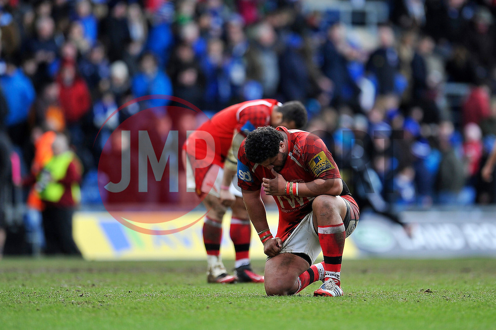 Opeti Fonua looks dejected at the final whistle as London Welsh's resignation is confirmed - Photo mandatory by-line: Patrick Khachfe/JMP - Mobile: 07966 386802 29/03/2015 - SPORT - RUGBY UNION - Oxford - Kassam Stadium - London Welsh v Bath Rugby - Aviva Premiership