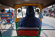 View from Indian autorickshaw through Agra streets (India)
