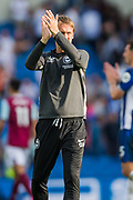 Graham Potter, Head Coach of Brighton & Hove Albion FC thanking the Brighton & Hove Albion FC supporters following the Premier League match between Brighton and Hove Albion and Burnley at the American Express Community Stadium, Brighton and Hove, England on 14 September 2019.