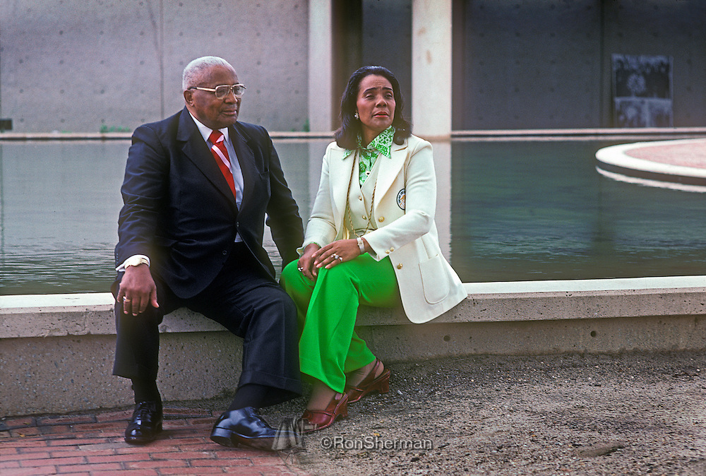 Rev ML (Daddy) King Sr and Coretta Scott King at the rerflecting pool by Dr ML King Jr crypt at the ML King  Center in Atlanta GA in 1977.