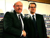 Photo: Tom Dulat/Sportsbeat Images.<br /> <br /> England Press Conference. 17/12/2007.<br /> <br /> Fabio Capello (R) shake hands with Brian Barwick (L)