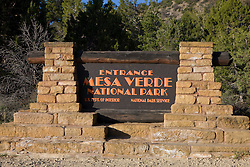 Entrance sign welcoming visitors to Mesa Verde National Park, near Cortez, Colorado.