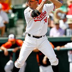 March 20, 2012; Sarasota, FL, USA; Baltimore Orioles designated hitter Nick Johnson (36) against the Philadelphia Phillies during a spring training game at Ed Smith Stadium.  Mandatory Credit: Derick E. Hingle-US PRESSWIRE