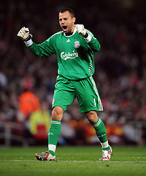 Diego Cavalieri celebrates as Liverpool equalise.Arsenal v Liverpool (2-1), The Carling Cup 4th Round, Emirates Stadium, London, 28th Oct 2009.