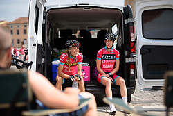Laughs in the Bizkaia Durango camp at Giro Rosa 2016 - Stage 3. A 120 km road race from Montagnana to Lendinara, Italy on July 4th 2016.