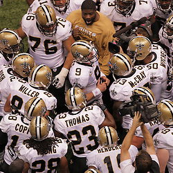 2008 October, 06: New Orleans Saints quarterback Drew Brees (9) leads his team in a group huddle prior to kickoff during a week five regular season game between the Minnesota Vikings and the New Orleans Saints for Monday Night Football at the Louisiana Superdome in New Orleans, LA.