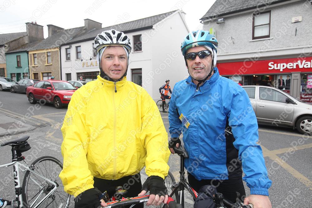 Michael McNamara and Gordon Drummy at the Clare 250 Cycle in Tulla on Saturday.<br /> Pic. Brian Arthur/ Press 22.