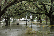 White Point Gardens surrounded by flood water in historic downtown after Hurricane Matthew passed through causing flooding and light damage to the area October 8, 2016 in Charleston, South Carolina. The hurricane made landfall near Charleston as a Category 2 storm but quickly diminished as it moved north.
