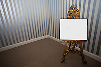 Blank sign board on easel