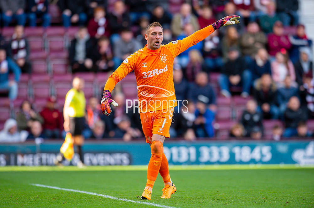 Allan McGregor (#1) of Rangers FC during the Ladbrokes Scottish Premiership match between Heart of Midlothian and Rangers FC at Tynecastle Park, Edinburgh, Scotland on 20 October 2019.
