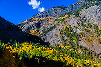 Fall color, Red Mountain Pass, between Ouray and Silverton, Colorado USA.