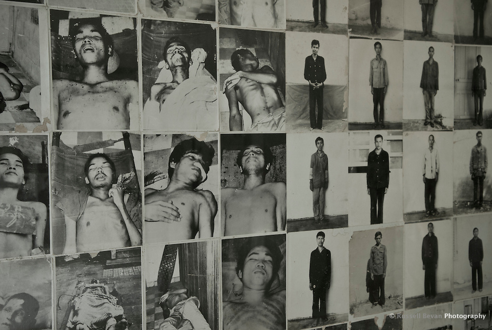 Before & after images of prisoners at Tuol Sleng Genocide Museum, Phnom Penh, Cambodia