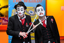 © Licensed to London News Pictures. 25/10/2016. Tyler Sutter (L) and Carl Skenes (R) of 20 Penny Circus performs sword swallowing and nail insertion into nose stunts at the launch of Ripley's Believe It or Not! 2017 Annual. London, UK. Photo credit: Ray Tang/LNP