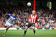 Reading Defender Liam Moore (6) heads clear during the EFL Sky Bet Championship match between Brentford and Reading at Griffin Park, London, England on 16 September 2017. Photo by Andy Walter.