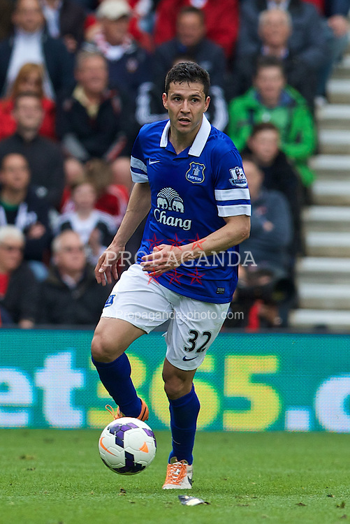 SOUTHAMPTON, ENGLAND - Saturday, April 26, 2014: Everton's Antolin Alcaraz in action against Southampton during the Premiership match at St Mary's Stadium. (Pic by David Rawcliffe/Propaganda)