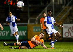 Ellis Harrison of Bristol Rovers shoots wide as George Edmundson of Oldham Athletic challenges - Rogan/JMP - 12/09/2017 - FOOTBALL - Memorial Stadium - Bristol, England - Bristol Rovers v Oldham Athletic - EFL Sky Bet League One.