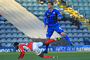 Harrison McGahey wins a header during the EFL Sky Bet League 1 match between Rochdale and Charlton Athletic at Spotland, Rochdale, England on 27 October 2018.