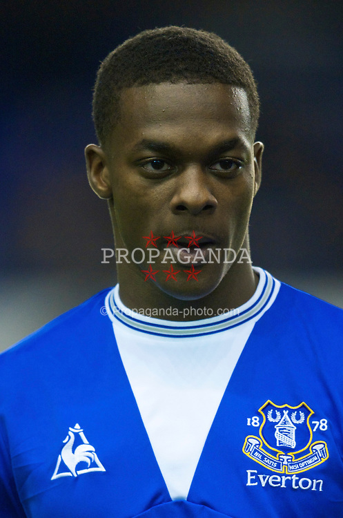 LIVERPOOL, ENGLAND - Thursday, December 17, 2009: Everton's Kieran Agard lines-up before the UEFA Europa League Group I match against FC BATE Borisov at Goodison Park. (Pic by David Rawcliffe/Propaganda)