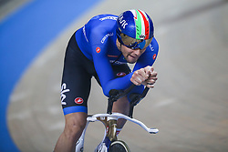 March 1, 2019 - Pruszkow, Poland - Filippo Ganna (ITA)competes in the Men's Individual Pursuit Qualifying race on day three of the UCI Track Cycling World Championships held in the BGZ BNP Paribas Velodrome Arena on March 01, 2019 in Pruszkow, Poland. (Credit Image: © Foto Olimpik/NurPhoto via ZUMA Press)