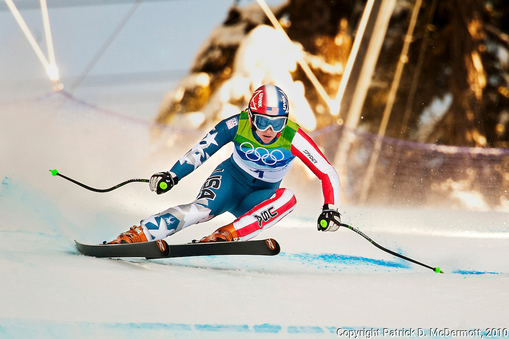 Stacey Cook of the United States competes in the Women's Downhill on Franz's Downhill course during the 2010 Vancouver Winter Olympics in Whistler, British Columbia, Wednesday, Feb. 17, 2010.