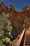 View of the cascading water at Tonto Natural Bridge, as viewed from the lower observation deck